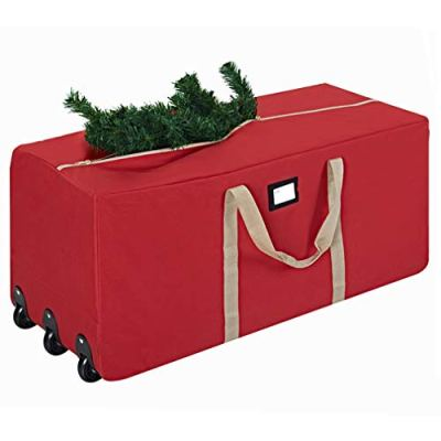 """ProPik Holiday Rolling Tree Storage Bag, Extra Large Heavy Duty Storage Container, 25"""" Height X 20"""" Wide X 60"""" Long with Wheels & Handles Fits Up to 9 Foot Tall Disassembled Trees 600D Oxford (Red)"""
