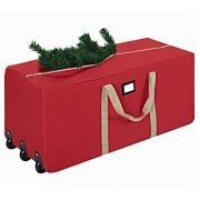 "ProPik Holiday Rolling Tree Storage Bag, Extra Large Heavy Duty Storage Container, 25"" Height X 20"" Wide X 60"" Long with Wheels & Handles Fits Up to 9 Foot Tall Disassembled Trees 600D Oxford (Red)"