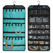 BAGSMART Double-sided Hanging Jewelry Organizer Roll up Bag for Earrings, Necklaces, Rings, Blue