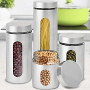 Stainless Steel and Glass Canisters with Window
