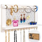 Wall Mounted White Wood Jewelry Organizer Holder with Hooks Shelf