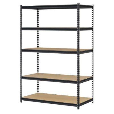 "Edsal URWM184872BK Black Steel Storage Rack, 5 Adjustable Shelves, 4000 lb. Capacity, 72"" Height x 48"" Width x 18"" Depth"