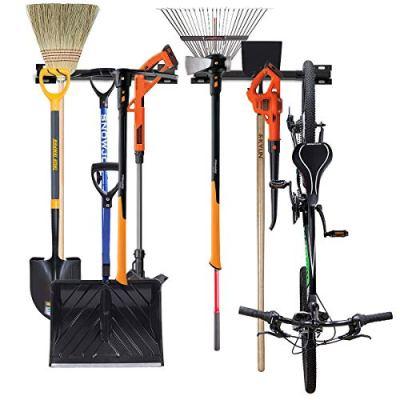 Garage Organizer, Kinghouse 48 Inch Tool Storage Rack, Adjustable Tool Hanger Organizer with 6 pcs Tool Hooks, 1 pcs Bike Hook, Home Garage Storage System