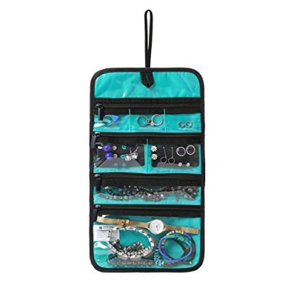 BAGSMART Hanging Travel Jewelry Roll Bag with Zippered Compartments for Earrings & Necklaces & Ring, Blue
