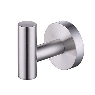 KES SUS 304 Stainless Steel Coat Hook Single Towel/Robe Clothes Hook for Bath Kitchen Garage Heavy Duty Contemporary Hotel Style Wall Mounted, Brushed Finish, A2164-2