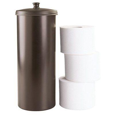 InterDesign Kent Plastic Toilet Tissue Roll Reserve Bathroom, Vertical Free Standing Compact Organizer, Holds 3 Paper, Bronze