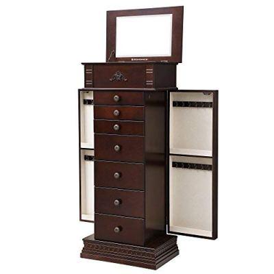 SONGMICS Large Jewelry Armoire Cabinet Standing Storage Chest Neckalce Organizer Dark Walnut Mother's Day Gift UJJC14K