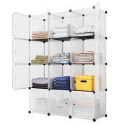 KOUSI Portable Storage Cube Cube Organizer Cube Storage Shelves Cube Shelf Room Organizer Clothes Storage Cubby Shelving Bookshelf Toy Organizer Cabinet, Transparent White, 12 Cubes Storage