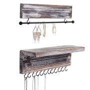 MyGift Rustic Wood Wall Mounted Hanging Jewelry Organizers, Set of 2