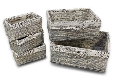 Nesting Storage Baskets - 5-Piece Wicker Decorative Baskets, Nesting Cube Organizers Box Set for Shelf, Kitchen, Bathroom, and Bedroom, Stone Gray, Classical Text Design - 3 Small, 1 Medium, 1 Large
