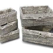 Nesting Storage Baskets - 5-Piece Wicker Decorative Baskets, Nesting Cube Organizers Box Set for Shelf, Kitchen, Bathroom, and Bedroom, Stone Gray, Classical Text Design - 3 Small, 1 Medium, 1 Large