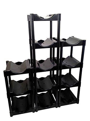 Bottle Buddy Storage System, Black 12-Pack Shelves