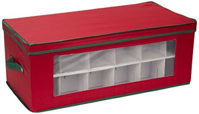 Household Essentials 551RED Large Christmas Tree Ornament Storage Box   Stores Up to 36 Xmas Ornaments   Red Bin with Green Trim