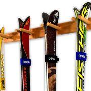 Timber Ski Wall Rack - 4 Pairs of Skis Storage - Wood Home & Garage Mount System (Natural)