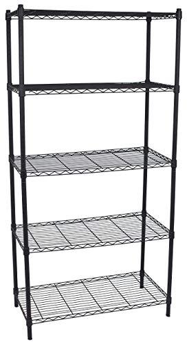 Internet's Best 5-Tier Wire Shelving   Flat Black   Heavy Duty Shelf   Wide Adjustable Rack Unit   Kitchen Storage