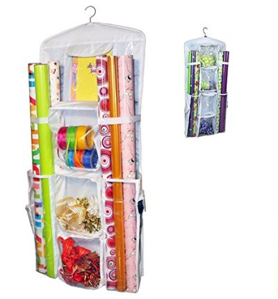 AOTUNO Double-Sided Hanging Gift Wrap Organizer Storage Bag,Wrapping Paper Storage Holder(White)