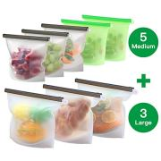 8 Pack Reusable Silicone Food Storage Bag (5 Medium & 3 Large) for Sandwich/Sous Vide/Snack/Lunch/Fruit, Leakproof, Dishwasher Safe, Microwave Freezer, Maintain Freshness and Food Quality