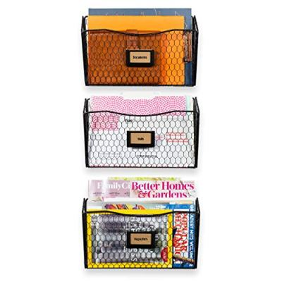 Wall35 Felic Hanging File Holder - Wall Mounted Metal Chicken Wire Magazine Rack - Office Folder Organizer with Name Tag Slot in Black (3)