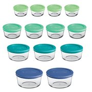 Anchor Hocking Classic Glass Food Storage Containers with Lids, Mixed Blue, 26-Piece Set