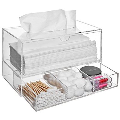 Modern Clear Acrylic Countertop Pull Out Storage Drawer/Cosmetic Organizer Box w/Tissue Dispenser