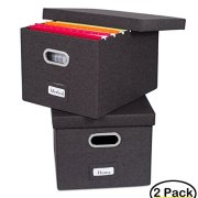 Internet's Best Collapsible File Storage Organizer | Decorative Linen Filing & Storage Office Box | Letter/Legal | Charcoal | 2 Pack