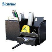 Wooden PU leather Multi-Functional Desk Stationery Organizer Storage Box Pen Pencil Box Holder Case