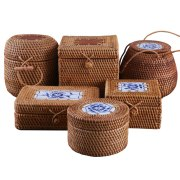 Rattan Woven Storage Box With Lid Handmade Jewelry Boxes Makeup Organizer Wooden For Sundries Puer Tea Case Containers Gift