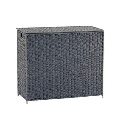 Household Essentials ML-7245 Wicker 3 Compartment Laundry Sorter with Lid   3 Section Clothes Hamper   Grey