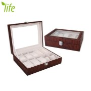 Transparent Skylight Watch Display Box 10 Grids Jewel Case Watch Storage Box With Lock For Birthday Gift 1 Piece Free Shipping