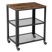 VASAGLE Industrial Serving Cart, 3-Tier Kitchen Utility Cart on Wheels with Storage for Living Room, Wood Look Accent Furniture with Metal Frame ULRC78X