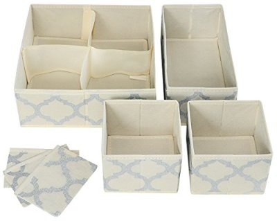 Set of 4 Organizer Bins with Dividers for Closet Dresser Drawer Inserts Bathroom Dorm