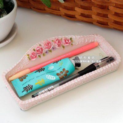 Ilya Pastoral Cosmetics Pen Tray Flapless Desktop Storage Box Creative Key Storage Box Hand-painted Light Colors Free Shipping