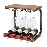 Soduku Wine Rack Wall Mounted Handmade Metal & Wood Wine Countertop Rack Wine Storage Shelf with 4 Bottle Cages & 6 Long Stem Glass (Walnut)