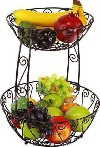 2-Tier Countertop Fruit Basket Bowl Storage, Bronze