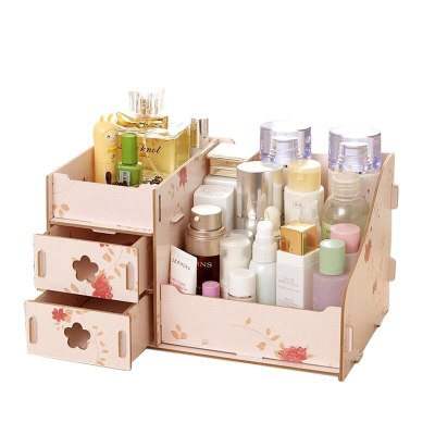 Wooden Storage Box Jewelry Container Makeup Organizer Case Handmade DIY Assembly Cosmetic Organizer Wood Box For Office