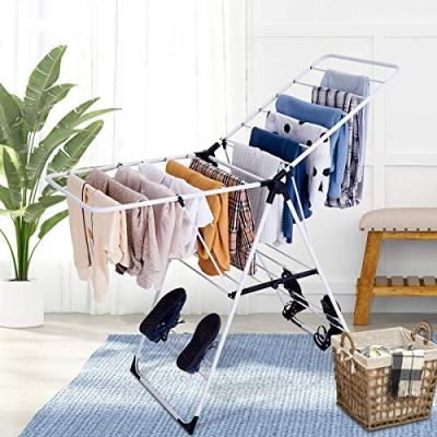 Tangkula Clothes Drying Rack, Collapsible Laundry for Sweaters Socks Underwear with Shoe Holder & 2 Shelves, Study Steel Frame Space Saving Adjustable Hanging Foldable Drying Rack (White)