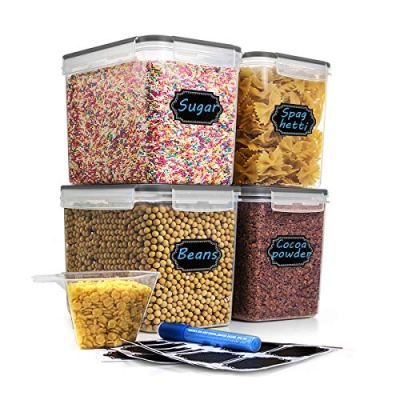 Food Storage Containers Airtight Containers- Estmoon Plastic Cereal Containes, Kitchen Storage Containers - Leak proof, Locking Lids BPA Free- For Cereal, Flour, Pet Food, Set of 4 (122.99 oz / 3.6L)
