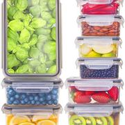 [9-Pack] Food Storage Containers with Lids - Plastic Food Containers with Lids - Plastic Containers with Lids BPA Free - Leftover Food Containers - Airtight Leak Proof Easy Snap Lock Food Container