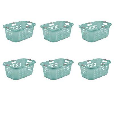 Sterilite 12167906, 2 Bushel 71 L Ultra Laundry Basket, Aqua Chrome with Titanium Handles, 6 Pack