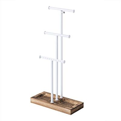 Love-KANKEI Jewelry Tree Stand White Metal & Wood - Basic & Large Storage Necklaces Bracelets Earrings Holder Organizer White and Carbonized Black