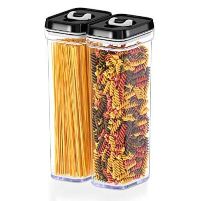 DWËLLZA KITCHEN Airtight Food Storage Containers with Lids – Same Size 2 Piece Set - Tall Air Tight Pantry & Kitchen Clear Container for Spaghetti Noodle and Pasta - Keeps it Fresh & Dry