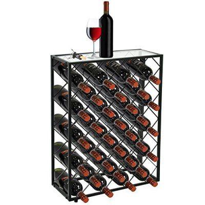 Smartxchoices 32 Bottle Wine Rack Table Heavy Sheet Glass Finish Top Free Standing Floor Wine Storage Organizer Display Shelf Wobble-Free