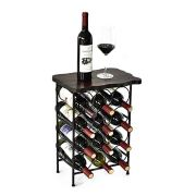 WELLAND Laura 12 Bottle Wine Rack with Solid Wood Table Top, Metal & Wood Free Standing Wine Storage Rack, Rustic Pine Wood