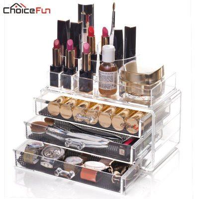 CHOICEFUN Fancy Plastic Stackable Divider Desk Make Up Storage Box Clear Transparent Acrylic Makyaj Cosmetic Makeup Organizer