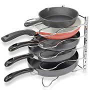 CAXXA Heavy Duty Pan Pot Lid Rack Organizer Cookware Storage Holder | 5 Adjustable Dividers For Kitchen Cabinet Shelf Pantry Counter, Chrome