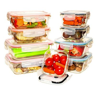 [9 Value Pack] Tempered Glass Food Storage Containers w/Locking Lids   No-Leak, BPA Free, Airtight, Microwave/Oven/Dishwasher/Freezer Safe