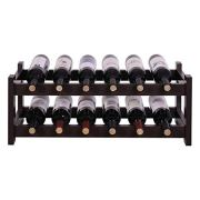 VASAGLE ULWR02BR 12 Wooden Wine Rack 2-Tier Tabletop Bottles Storage Shelf Espresso