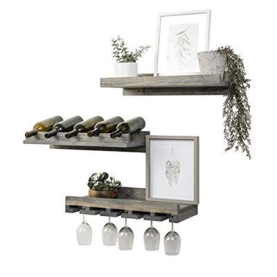 "Del Hutson Designs Rustic Handmade Wooden Wall Mounted Three Tiered Wine Rack 24"" (Grey)"