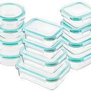 Bayco Glass Food Storage Containers with Lids, [24 Piece] Glass Meal Prep Containers, Airtight Glass Bento Boxes, BPA Free & FDA Approved & Leak Proof (12 lids & 12 Containers)