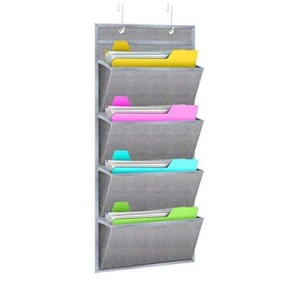 Hanging Wall Organizer,WishAcc Wall Mount/Over The Door Office Supplies Storage Mail Organizer for Notebooks,Planners,File Folders - 4 Pockets Deep Gray